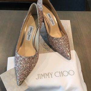 Jimmy Choo Brand New 37 Love 65 Rosewood Glitter